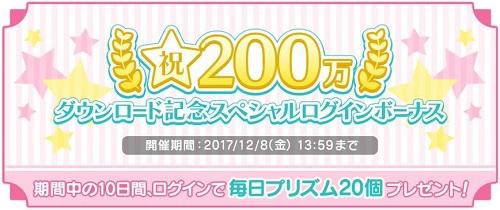200万ダウンロード記念スペシャルログインボーナス実施!毎日プリズム20個プレゼント!